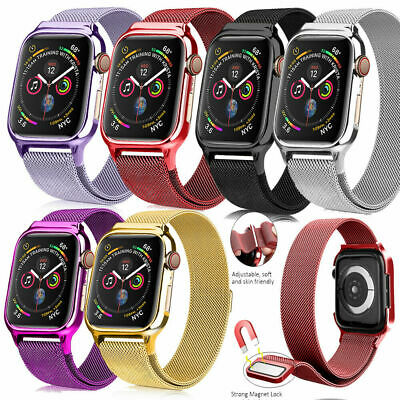Magnetic Milanese Loop Band +Protective Case for Apple Watch Series 4 40mm 44mm