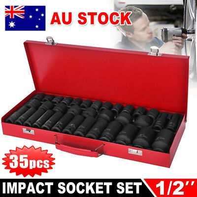 "35pcs Drive Deep Impact 1/2"" Socket Set Metric Garage Workshop Tools AU STOCK"