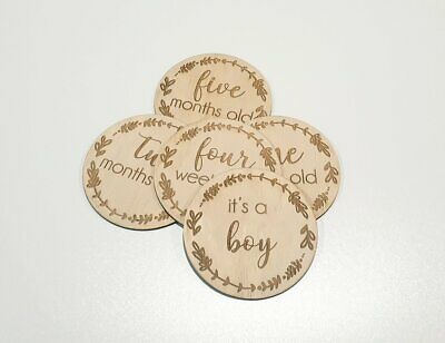 Wooden Milestone Cards Rounds Ply Lasered New Born Baby Shower Gift