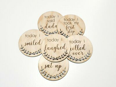 Wooden Today I Milestone Cards Rounds Ply Lasered New Born Baby Shower Gift