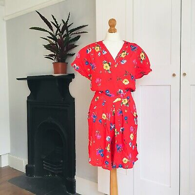 Vintage 80s 90s Red Yellow Blue Floral Print Wrap Summer Playsuit 12
