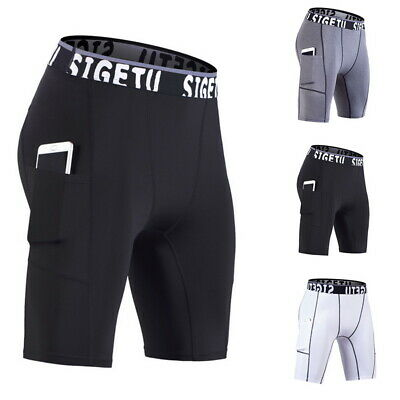 e015886d3 Men's Compression Shorts Sports with Pocket Quick Dry Tights Workout Shorts  BY