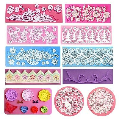 Flower Lace Silicone Mold Mould Sugar Craft Fondant Mat Cake Decor Baking Tools