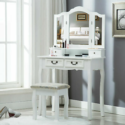 White Dressing Table Shabby Chic Mirrors Vanity Makeup Desk and Stool Set