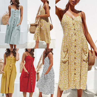 Womens Holiday Strappy Button-Up Ladies Summer Beach Midi Swing Sundress Dress