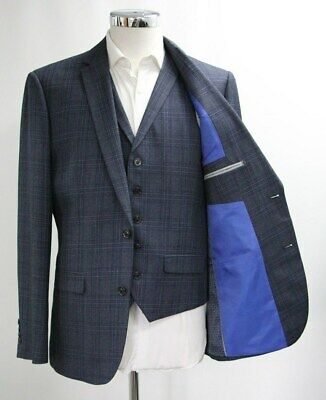 Men's Unbranded Checked Navy Blue Blazer & Waistcoat Set (40R).. Sample 4561