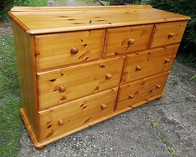 solid pine large chest of 7 drawers 3 over 4