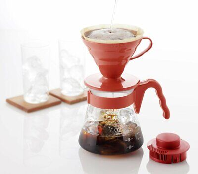 Hario VCSD-02R 1-Piece Borosilicate Glass Pour Over Drip Coffee Sever Set, Red