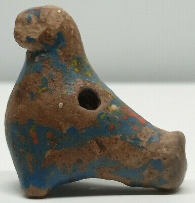 Ancient Clay Small  Whistle / Ocarina Duck / Bird  / Toy / Work ! /  800-1300AD.