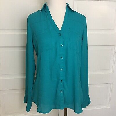 fd370ee8 Express The Portofino Shirt Teal Blue XS Button Down Blouse Roll Tab Sleeve