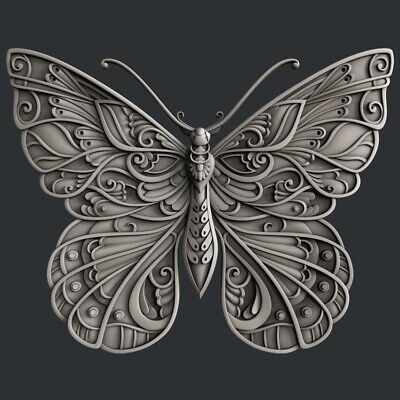 3d STL models for CNC, Artcam, Aspire, relief butterfly