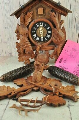 Vintage Wooden Deer Head German Cuckoo Clock with Instructions - Untested