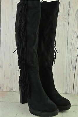 New Creamy Moda Ladies Black Knee High Suede Boots - Style F-151 UK Size 7 Boxed