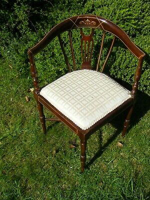 Victorian Edwardian Mahogany Inlaid Corner Chair