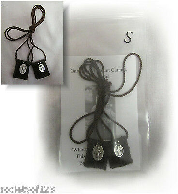 Brown Scapular Our Lady of Mt. Carmel SMALL Handmade Wool Catholic Sacramental
