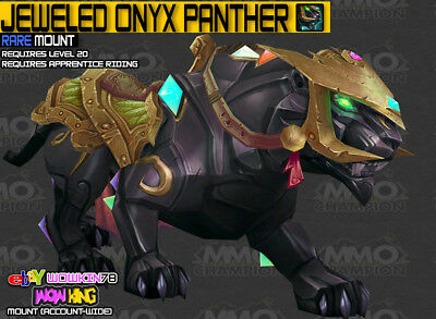 Jeweled Onyx Panther 4 Jeweled Panthers ✯ Wow ✯ mounts ✯ US/NA four