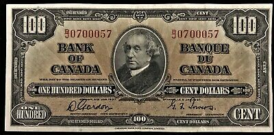 1937 Bank of Canada $100, Gordon-Towers, B/J