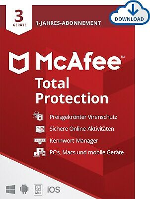 McAfee Total Protection 2019 (3 Geräte / PC ) 1 Jahr / ESD