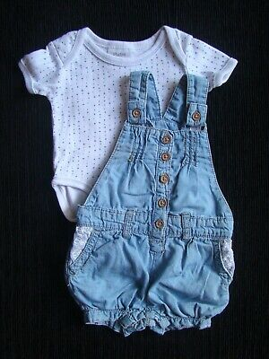 Baby clothes GIRL 0-3m outfit denim-look cotton short leg dungarees/bodysuit