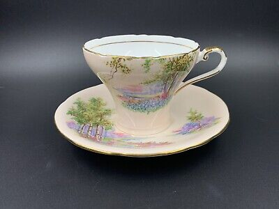 Aynsley 497 Corset Pink Country Scene Tea Cup And Saucer Set Bone China England
