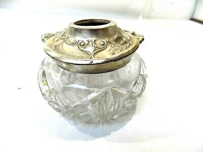 Vtg Antique Victorian Cut Glass/Crystal Dresser Vanity Hair Reciever Jar 1800's