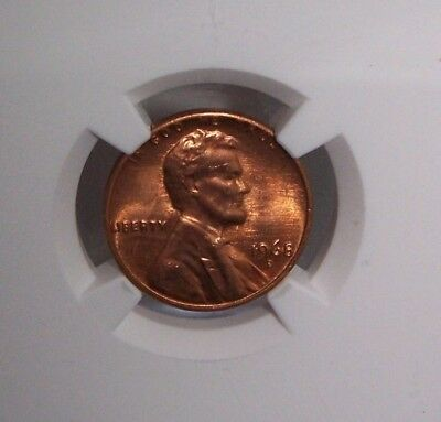 1968-D NGC MS 66 RED Lincoln Wheat Cent Graded by NGC -042