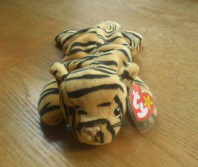 TY STRIPES Beanie Baby Tiger MWMT 4th Gen Retired