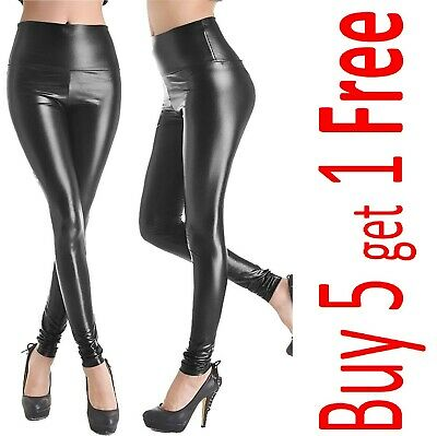 9245d4030058e WOMENS LADIES PVC Leather High Waist Pu Leggings Wet Look Stretch ...