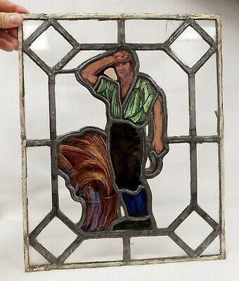 Antique Figural Stained Glass Window - Working Farmer Man