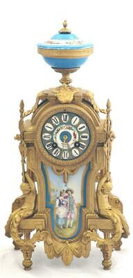 Antique Mantle Clock Beautiful Gilt Metal & Blue Sevres Porcelain Cherub Figures