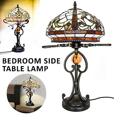 "TIFFANY Lamp Antique Style Hand crafted 16"" shade Lamp Bed/Living Room 12"" inch"