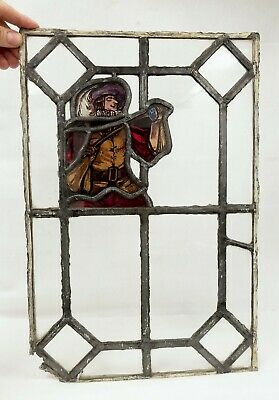 Antique Figural Stained Glass Window - Musketeer