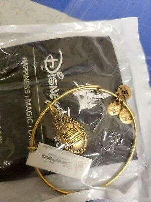 Alex And Ani Disney Haunted Mansion Bracelet Logo Bangle Gold Finish New Parks