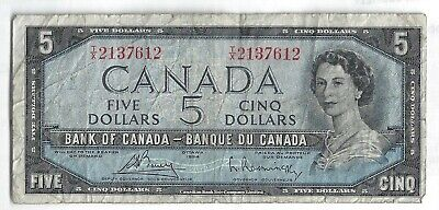 1954 Five Dollar Bank Note From Canada