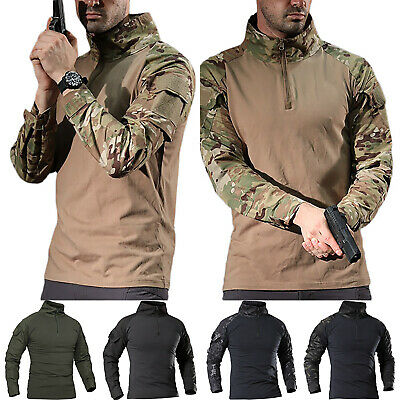 Mens Tactical Military Camo Combat T Shirt Tops Blouse Long Sleeve Tees Pullover