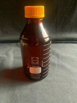 Schott Duran 1000mL 1L Amber Graduated Media Storage Bottle & GL-45 Cap, Chipped