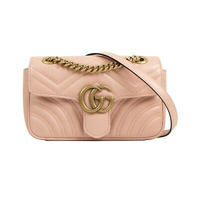 a6df2b8594a6 NWT GUCCI Light Pink Quilted Leather GG Marmont Matelassé Shoulder Bag