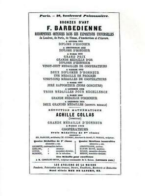 1886 Catalog of the French Bronze Foundry of F.Barbedienne of Paris by...