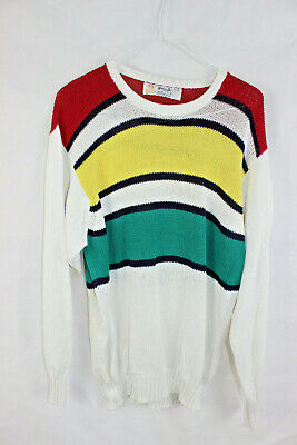 Vintage 1980s WEISS X PRINGLE Colab Unisex KNITTED JUMPER Mens M Womens L RETRO