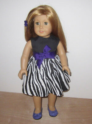 """Doll clothes Purple Shoes Black and White Dress fit American Girl and 18"""" Dolls"""