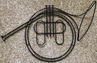 Vintage French Horn Wind Instrument Black Wire Wall Hanging Mid Century Modern