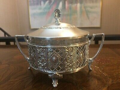 Rare GERMAN WMF ART NOUVEAU Silver Plated Sugar Bowl With Lid