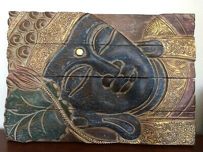 Buddha Wood Hand Carved Hand Painted Home Decor Panel Wall, Table, or Floor Art