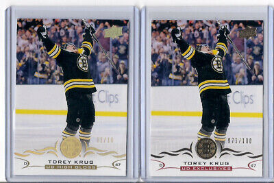 2018-19 Upper Deck Series 1 #16 Torey Krug UD Exclusives /100 and High Gloss /10
