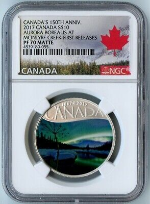 2017 Canada Ngc First Releases Pf70 Matte Aurora Borealis At Mcintyre Creek S$10