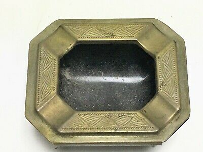 Chase Brass Black Glass Art Deco Cigarette Ashtray Signed 1920s Era
