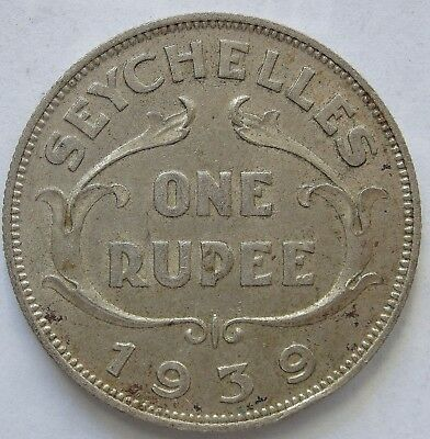 Seychelles 1939 Silver 1 Rupee.aEF(LotE11181118)Free Registered Post