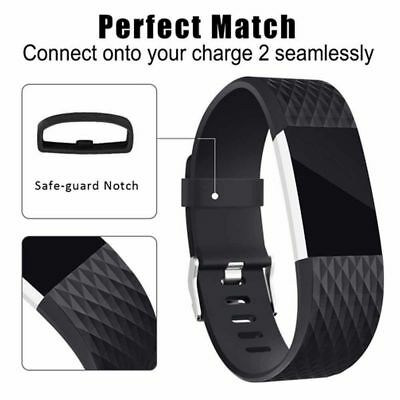 Fitbit Charge 2 BAND SILICONE Fitness Replacement Accessories Buckle Black S / L