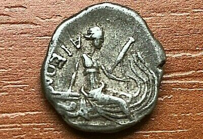 "Euboea, Histiaia 196-146 BC AR Diobol ""Nymph Histiaia"" Ancient Greek Coin"
