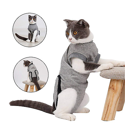 Doglemi Cat Recovery Suit Soft Surgery Wear Coat E-Collar Alternative with for